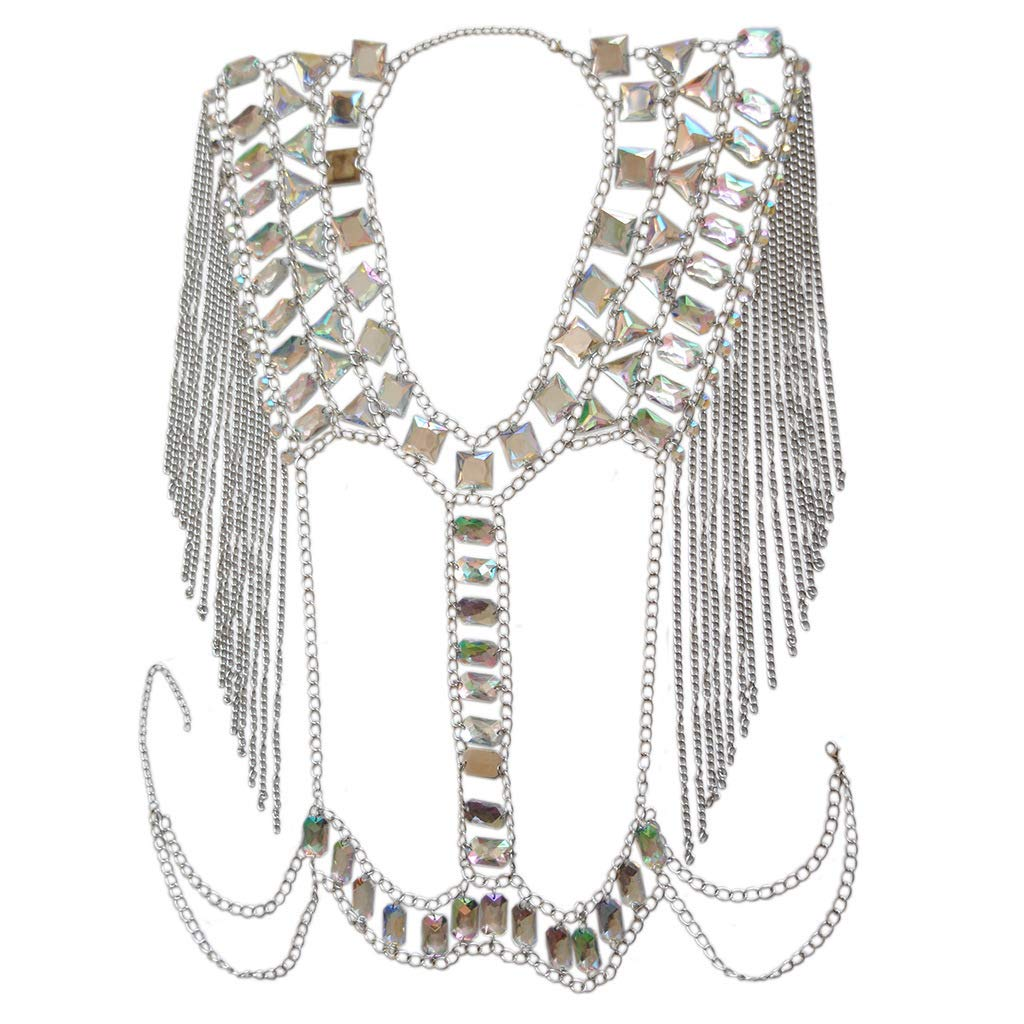 Connie Cloris Women Sexy Jewelry Night Shop Costume Shoulder Body Chain (Silvery -Shoulder Body Chain)