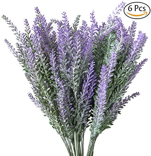 Leyaron 6 Bundles Artificial Lavender Bouquet Fake Lavender Bunch Purple Lavender Flowers Artificial Plant for Wedding, Home Decor, Office, Garden, Patio Decoration (Lavender Wedding Flowers)