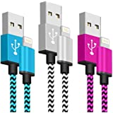 SyncTech Phone Charger Fast Charging Cable 6FT 3 Pack Nylon Braided High Speed Charging Cord USB Compatible with Phone XS MAX XR X 8 8 Plus 7 7 Plus 6s 6s Plus 6 6 Plus (3.) Blue, White, Pink)