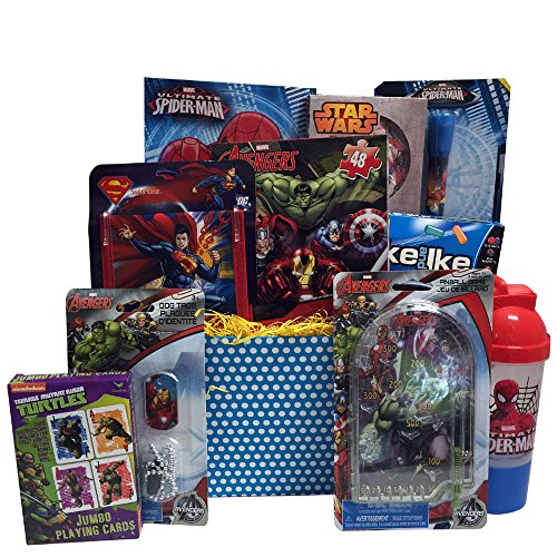 Christmas Gift Baskets For Kids, Fun and Games Ideal Ultimate Super Hero Christmas Gift Baskets For kids 3 to 8 Years Old