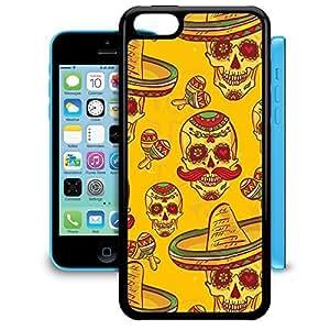 Bumper Phone Case For Apple iPhone 5C - Mexican Sugar Skulls in Gold Designer Cover