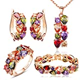 Bamoer Mona Lisa Mutlicolor Swarovski Elements Crystal Fashion Bridal Jewelry Sets Necklace and Earrings Suit Big Earlobe and Bracelet and Ring for Women