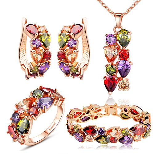 Bamoer Graduation Gifts Mona Lisa Mutlicolor Swarovski Elements Crystal Fashion Jewelry Sets Earrings Necklace Bracelet and Ring with Jewelry Box for Women Girls Teen