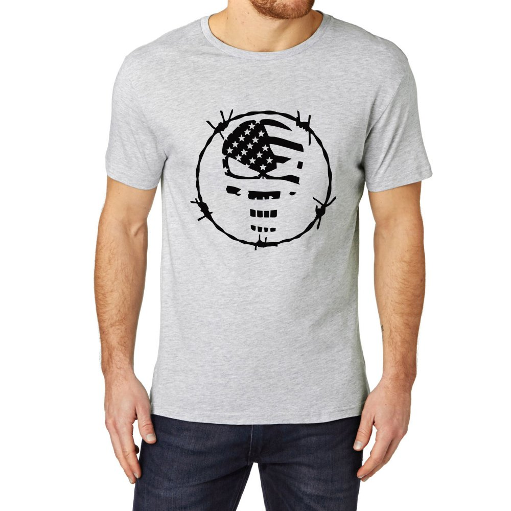 Loo Show Skull Flag Punisher Barb Wire Casual T Shirts Tee