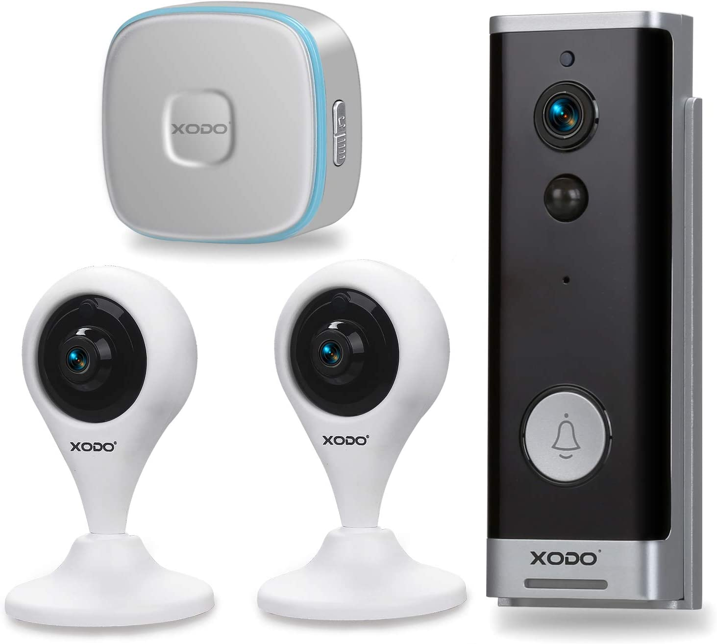 XODO PK2 WiFi Smart Home Security Kit, 2-Pack 1080p Camera, Weather Resistant Live Video Doorbell, Motion Sensing, Chime, App Controlled, DIY Security System, Works with Alexa/Google Home Assistant