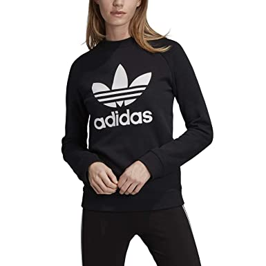 adidas Sweat Crewneck Femme Trefoil DV2612 Noir Blanc