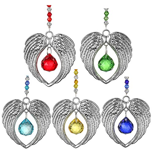 H&D Crystal Suncatcher Angel Wing Pendant with 20mm Chandelier Prisms Rainbow Suncatcher Crystal Ball Suncatcher Prism,Pack of 5