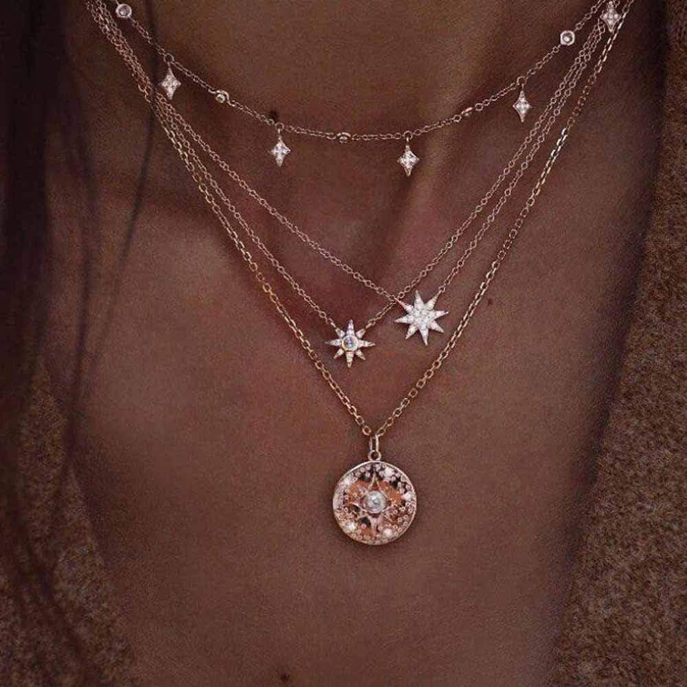 Jovono Bohemia Multi - Collar de capa con estrella y diamantes de imitación para mujeres y niñas