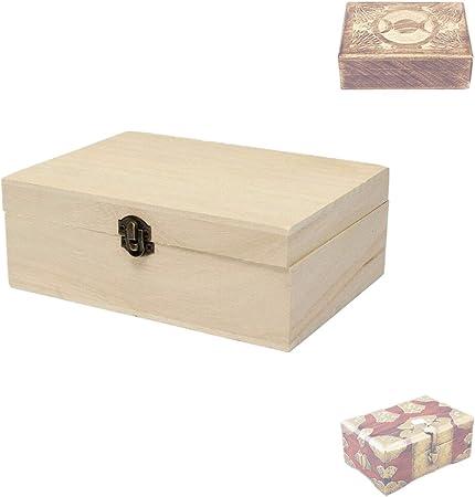 hofumix cajas decorativas de madera caja joyero diseño de madera hecho a mano caja de madera sin terminar caja de almacenaje con tapa, 6.94.92.6in: Amazon.es: Hogar