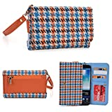 Orange KroO Universal Wristlet Wallet with Card Holders and Bill Fold With Houndstooth Pattern Fits Samsung Galaxy Note5