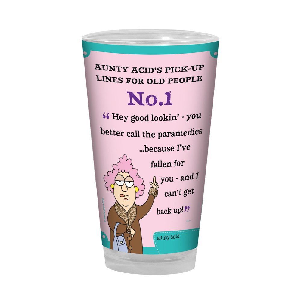 Tree-Free Greetings PG02815 Aunty Acid Artful Alehouse Pint Glass, 16-Ounce, Pick Up Lines