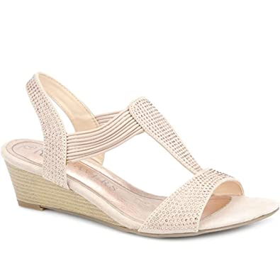 bb7c725c4ab Pavers Wedge Sandal with Diamante Studs 309 288 - Natural Size 12 (45)
