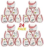 4E's Novelty Pack of 24 Baseball Kick Balls Assorted Silly Faces, Great Party Favors Fort Kids, Goodie Bags Fillers for Kids Birthday, BY