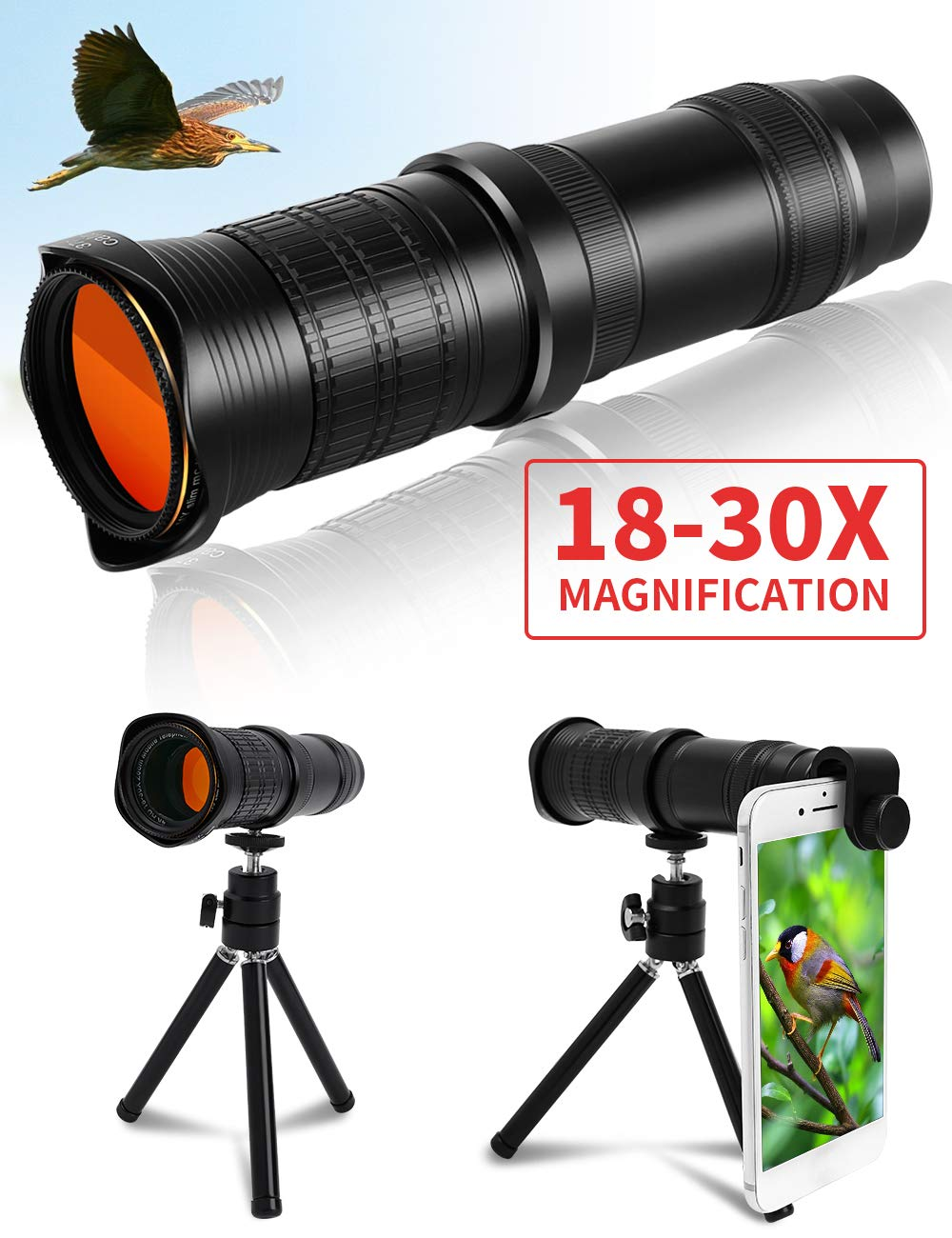 AIRSOFTPEAK Monocular Telescope 18-30X37 High Powered Dual Zoom Monocular Scope HD for Smartphone Spotting Scope with Tripod Compact Monocular for Adults Bird Watching Hunting by AIRSOFTPEAK