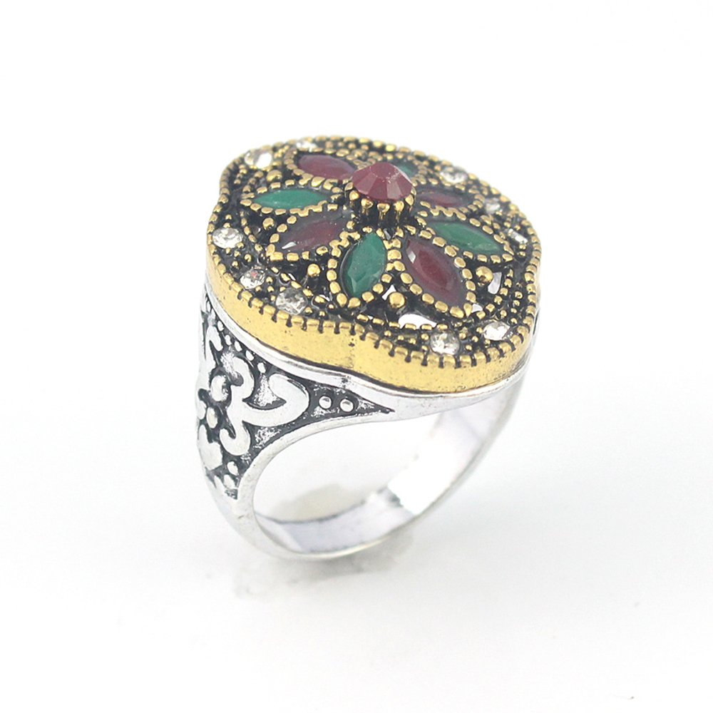 EMERALD RUBY VICTORIAN JEWELRY SILVER PLATED AND BRASS RING 10 S23851