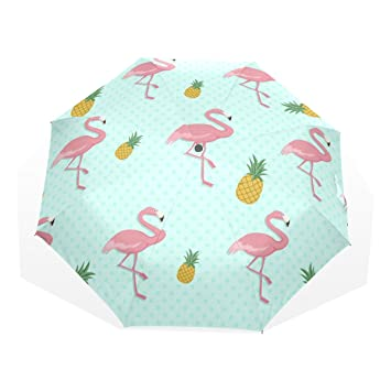 GUKENQ - Paraguas de Viaje, diseño de Flamenco Rosa, Ligero, Anti Rayos UV