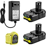 Powilling 2Pack 3.0Ah 18V Ryobi Lithium Replacement Battery for Ryobi 18V Lithium Battery ONE+ P102 P103 P104 P105 P107 18-Vo
