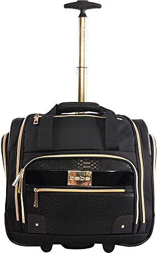 BEBE Women s Evans Wheeled Under The Seat Carry On Bag, Black Croc, One Size