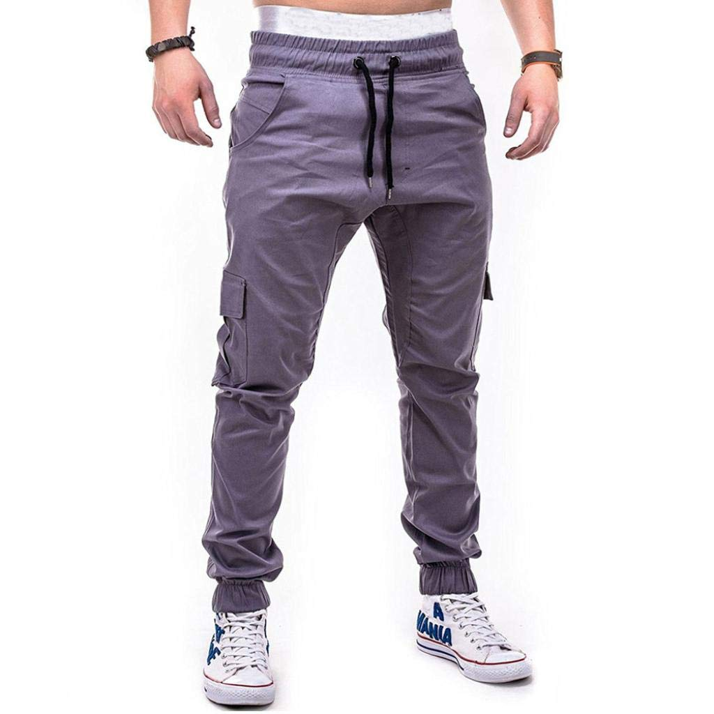 Realdo Clearance Fashion Sport Pure Color Bandage Casual Sweatpants Drawstring Cargo Pant Trousers(XX-Large,Gray) by Realdo (Image #2)