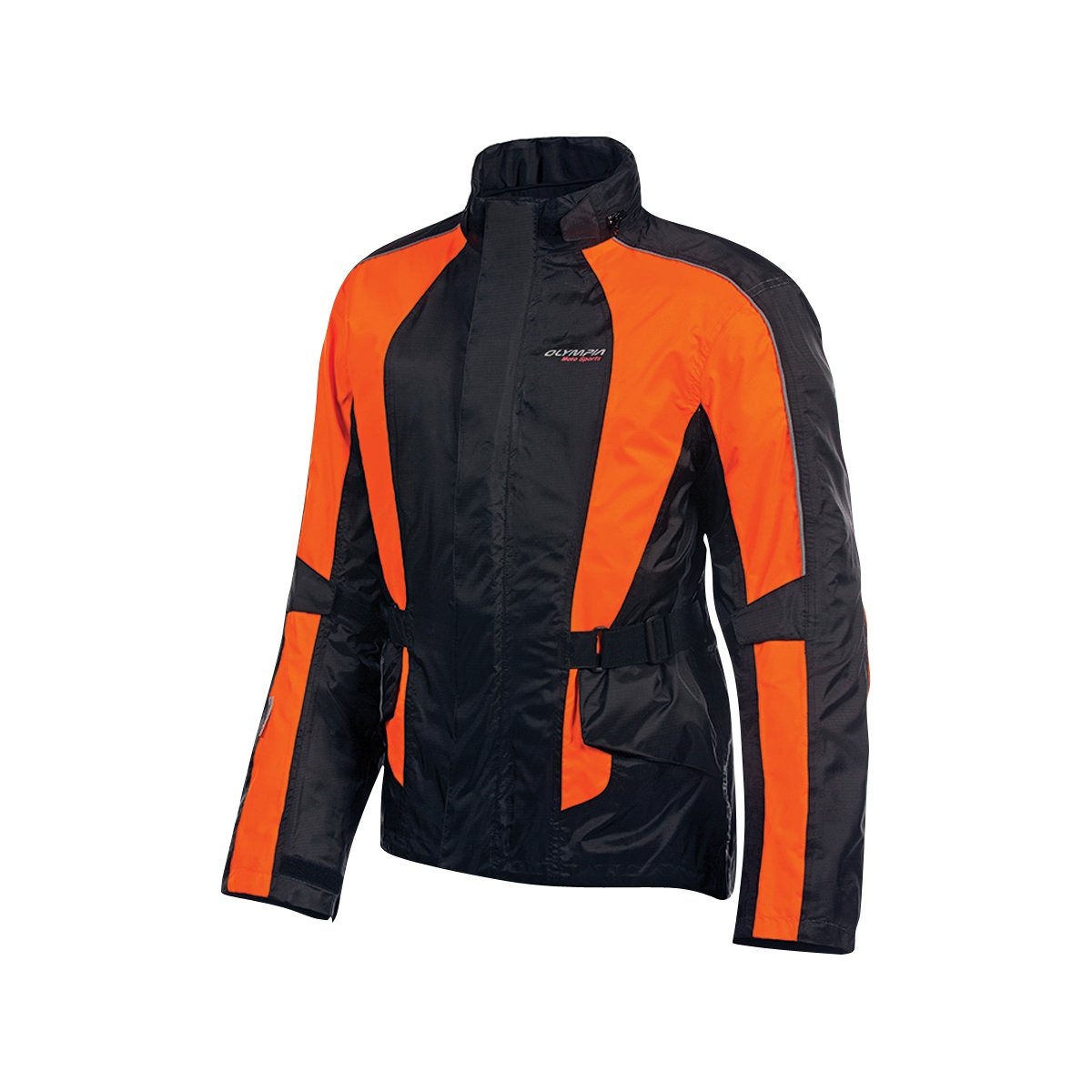 Olympia New Horizon Rain Mens Waterproof Exteriors and Rain Gear On-Road Racing Motorcycle Jacket - Black/Neon Orange/Petite