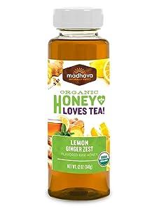 Madhava Natural Sweeteners Organic Honey for Tea, Lemon Ginger Zest, 6 Count - PACKAGING MAY VARY