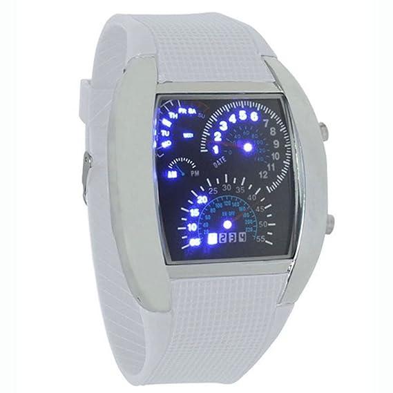 Culater® 0042103 Chic de aviación Turbo esfera de cremallera Reloj LED de regalo, diseño de coche deportivo de los hombres contador de mujeres, ...