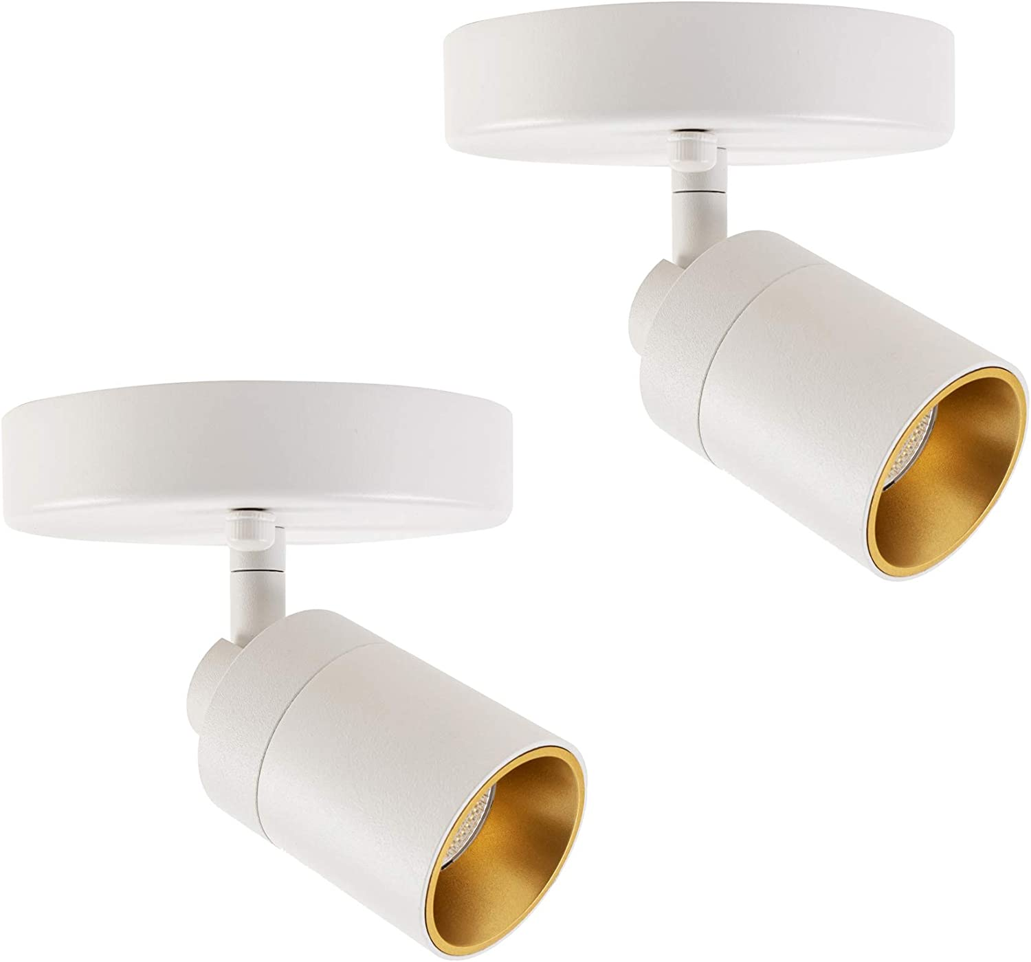 Vidalite LED Monopoint Sconce Adjustable Flush Mount Spot Light with Rotating Head for Living Room Dining and Office, 2-Pack, White, 2