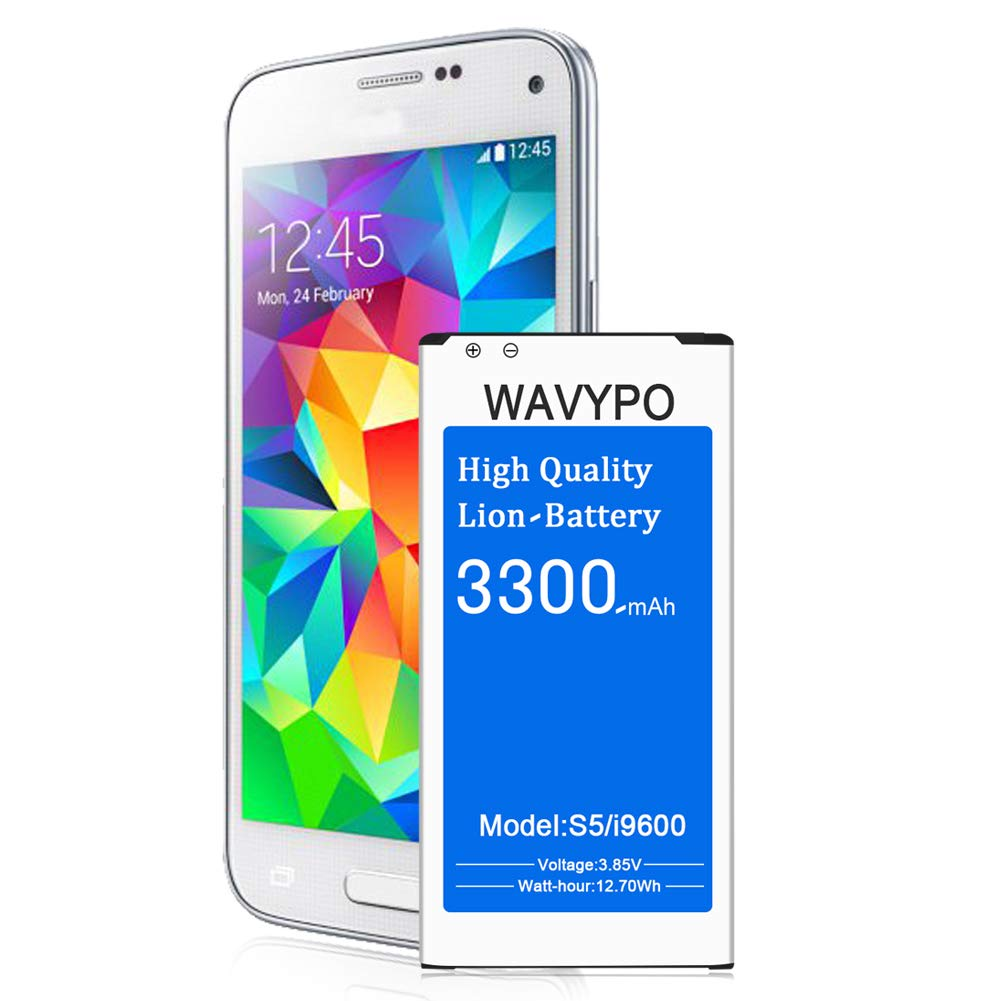 (Upgraded) Galaxy S5 Battery, Wavypo 3300mAh Replacement Battery Li-ion for Samsung Galaxy S5 I9600 G900A G900P G900V G900T G900F G900H G900R4 SM-S903VL S5 Spare Battery [24 Month Warranty]