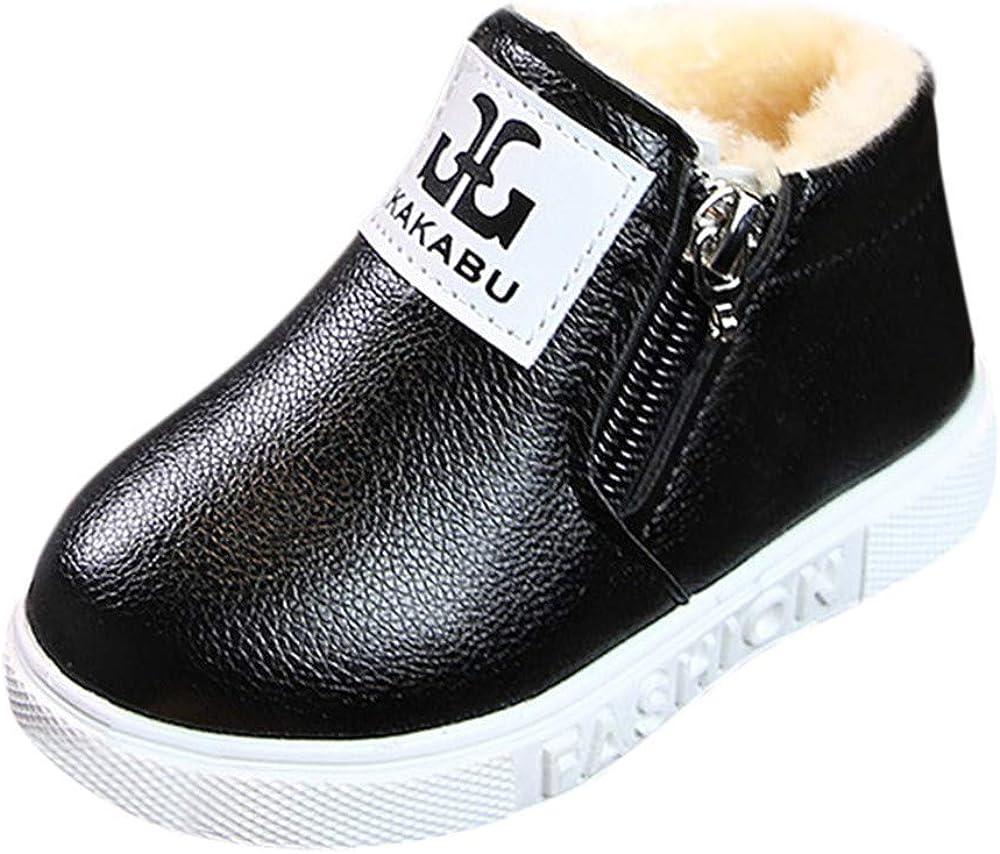 SHOBDW Girls Shoes Kids Boys Girls Winter Snow Warm Ankle Boots Zipper Child Chelsea Shoes