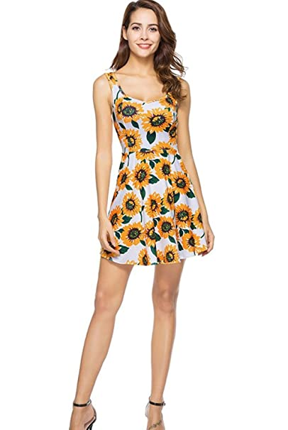 292b692642d8 Image Unavailable. Image not available for. Color: Womens Sunflower Dresses  Girls Sleeveless Floral Print Soft Skirts ...