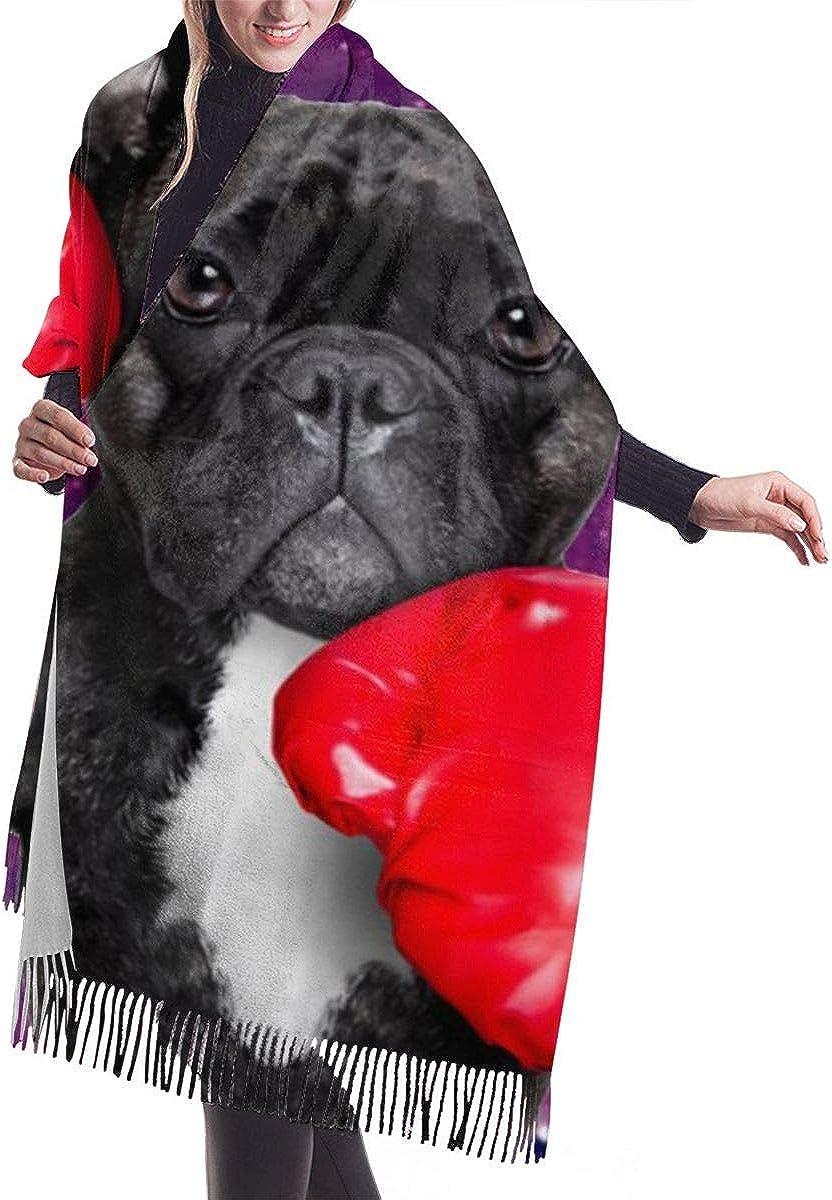 BUXI Printing Unisex Scarf,Divertido Perro De Boxeo Con Guantes Rojos, Envoltura De Chal Con Tema Para Mascotas, Novedad, Bufandas Para Adultos Para Cazar Motociclismo, Esquí,68x196cm