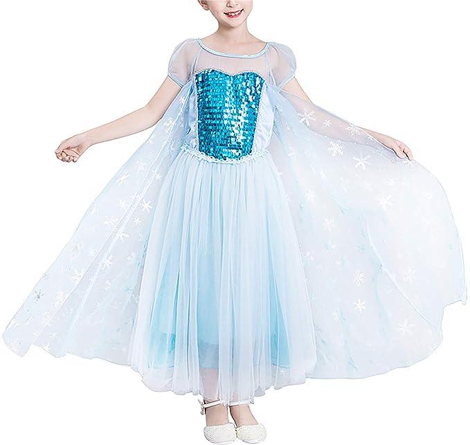 YOSICIL Disfraz de Frozen niña Vestido de Princesa Elsa con ...