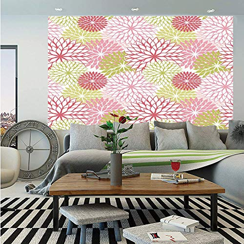 SoSung Floral Wall Mural,Hand Drawn Ornate Plants Leaves Petals Buds Vintage Style Flower Pattern Print Decorative,Self-Adhesive Large Wallpaper for Home Decor 55x78 inches,Pink Coral Green