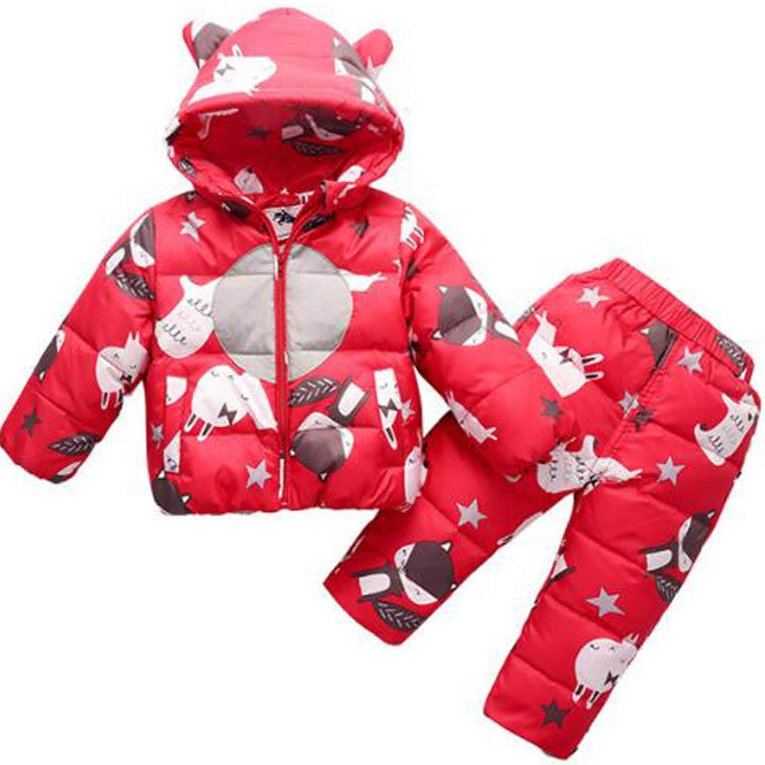 Maxhugoo Baby Little Girls Boy Cartoon Print Down Jacket Two Piece Hooded Snowsuit