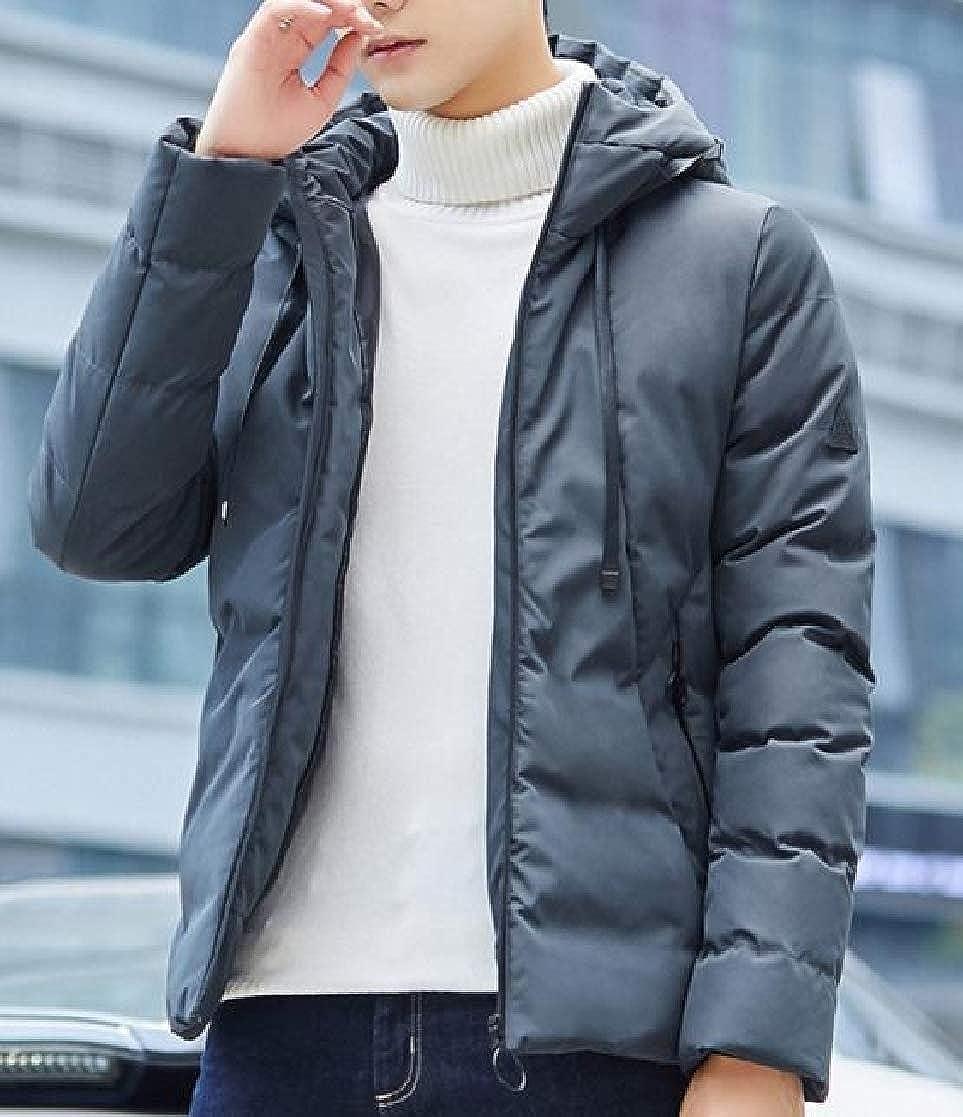 YUNY Mens Keep Warm Casual Zipper Hood Regular-Fit Thick Down Parka Green 2XL