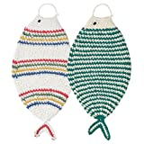 Now Designs Tawashi Fish-Shaped Scrubbers, Primary and Green, Set of 2