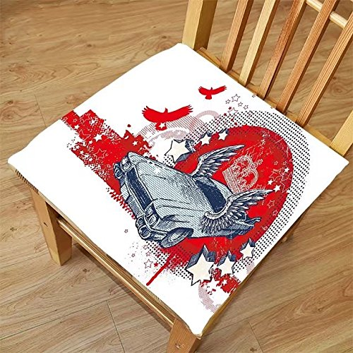 Nalahome Set of 2 Waterproof Cozy Seat Protector Cushion Retro Abstract Illustration Hand Drawn Winged Crowned Vintage Style Car Birds and Stars Red Baby Blue Printing Size - Winged With Eyeliner Glasses