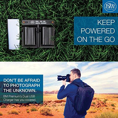 BM Premium Pack of 2 EN-EL15 Batteries and USB Dual Battery Charger Kit for  Nikon D7500, 1 V1, D500, D600, D610, D750, D800, D810, D810A, D850, D7000,