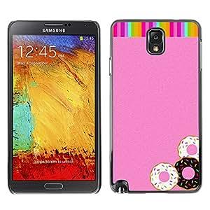 For SAMSUNG Galaxy Note 3 III / N9000 / N9005 Case , Doughnuts Rainbow Pink Glitter Sweets - Diseño Patrón Teléfono Caso Cubierta Case Bumper Duro Protección Case Cover Funda