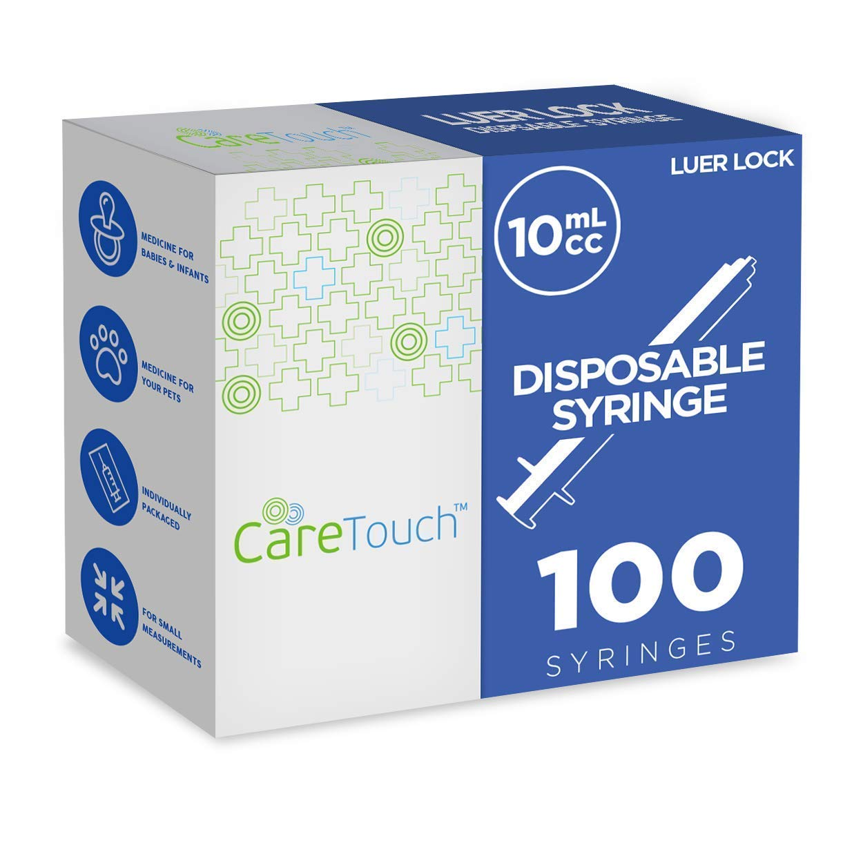 10ml Syringe Only with Luer Lock Tip - 100 Syringes Without a Needle by Care Touch - Great for Medicine, Feeding Tubes, and Home Care by Care Touch