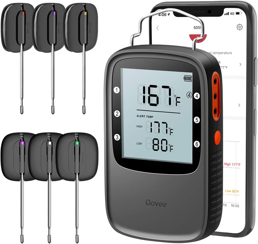 Govee Meat Thermometer, Bluetooth Digital Food Thermometer Clock Timer with 6 Probes, Wireless Remote Monitor Kitchen Thermometer High Accurancy Meat Thermometer for Grilling BBQ Smoker Oven Candy
