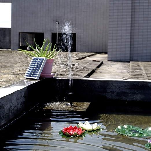 SHIJING 9V 2W Kit de Panel de Fuente de energía Solar Jardín Bomba de Agua para la Piscina de Birdbath Riego Bombas de irrigación Anchas Led Solar para jardín: Amazon.es: Hogar