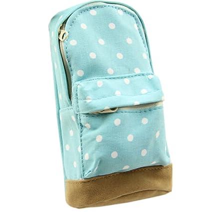 e8f662a20f Fashion Mini School Bag Pen Case Student s Canvas Pencil Case Children Pen  Bag (Blue)