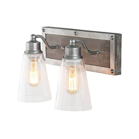 64e9a1a124590 LOG BARN 2 Lights Bathroom Lighting in Real Distressed Wood and Brushed  Antique Silver Finish with Cone Clear Glass Shades, 14.1