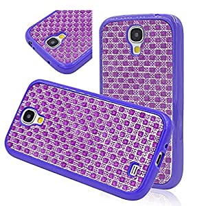 Seedan Purple Bling Style Case for Samsung Galaxy S4 i9500 Glisten Diamond Strass TPU Soft Gel Back Cover Skin Protective Shell