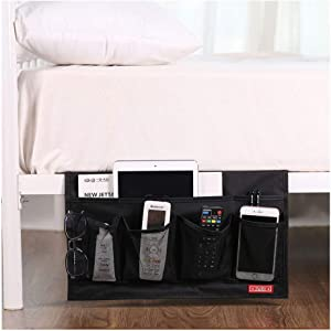Zafit 6 Pockets Bedside Storage Organizer, Table cabinet Storage Organizer Bedside Organizer Caddy for Remotes Phone Glasses (Black)