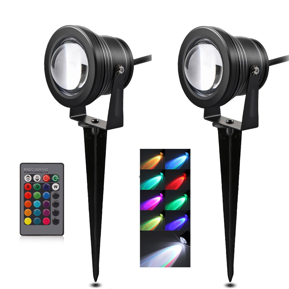 Lemonbest 2pcs Outdoor Decorative Lamp Lighting RGB 10W Color Changing LED Landscape Garden Wall Yard Path Lawn Light DC 12V Spiked Stand Remote Control