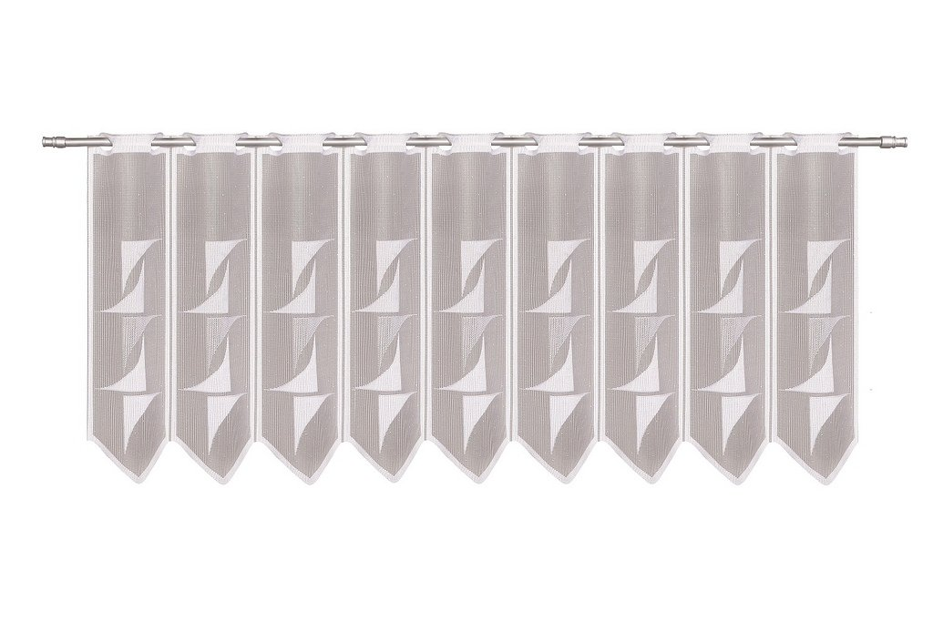 Curtain half-curtain abstract 30 cm high | Width freely selectable in 30 cm steps via quantity purchased | Colour: White | Net curtains cafe kitchen