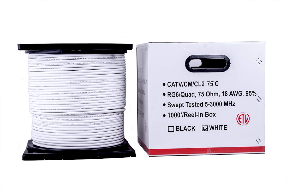 Five Star Cable 1000 ft. RG6 Quad Shielded Coaxial Cable ETL Listed for use with Audio/Video, Radio Frequency, and CATV/MATV Transmissions. White by FIVE STAR (Image #5)