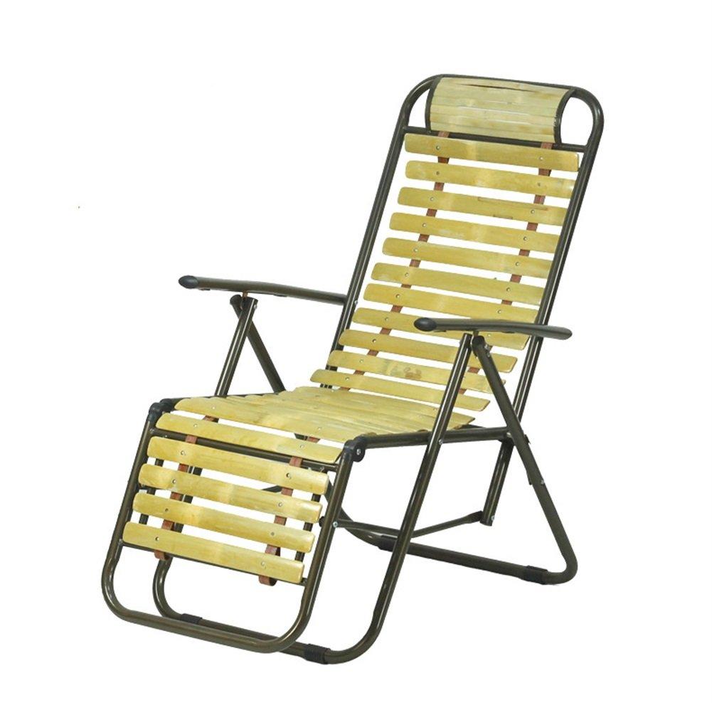H-WJ Mode Faltender Recliner Alter Mann-Haar-Bruch-Stuhl-Multifunktionsbeweglicher Büro-Balkon-Bambusfreizeit-Stuhl Sitz
